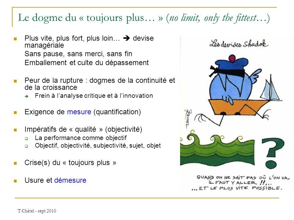 T.Châtel - sept 2010 Le dogme du « toujours plus… » (no limit, only the fittest…) Plus vite, plus fort, plus loin… devise managériale Sans pause, sans