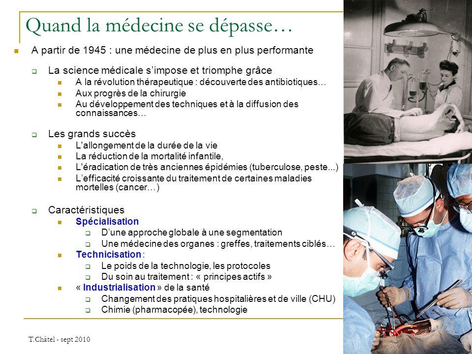 T.Châtel - sept 2010 A partir de 1945 : une médecine de plus en plus performante La science médicale simpose et triomphe grâce A la révolution thérape