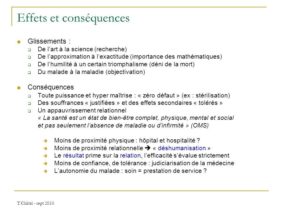 T.Châtel - sept 2010 Effets et conséquences Glissements : De lart à la science (recherche) De lapproximation à lexactitude (importance des mathématiqu