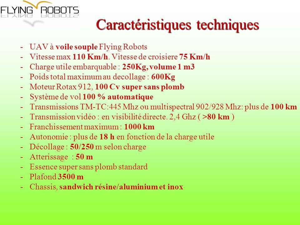 -UAV à voile souple Flying Robots -Vitesse max 110 Km/h. Vitesse de croisiere 75 Km/h -Charge utile embarquable : 250Kg, volume 1 m3 -Poids total maxi