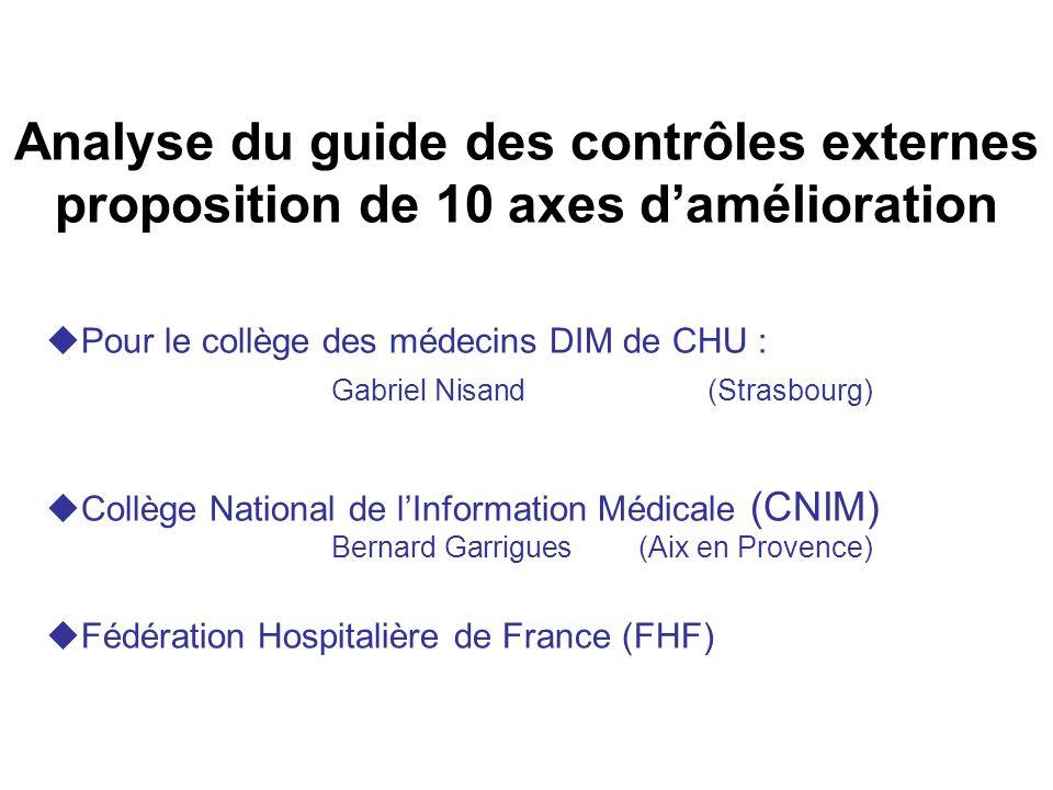 Analyse du guide des contrôles externes proposition de 10 axes damélioration Pour le collège des médecins DIM de CHU : Gabriel Nisand (Strasbourg) Col