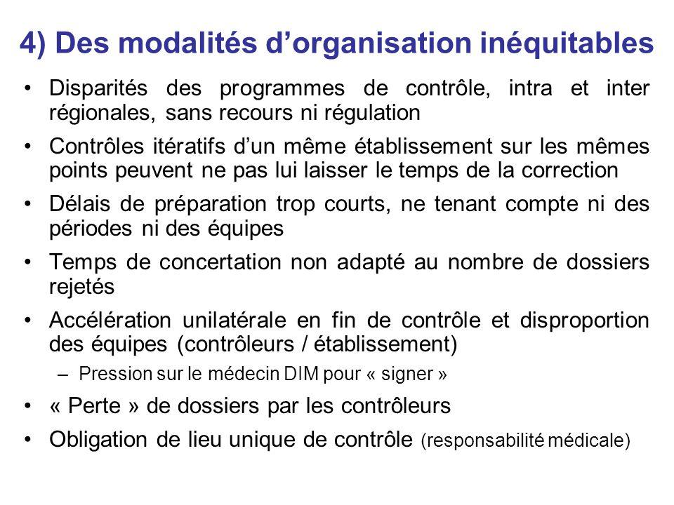 4) Des modalités dorganisation inéquitables Disparités des programmes de contrôle, intra et inter régionales, sans recours ni régulation Contrôles ité