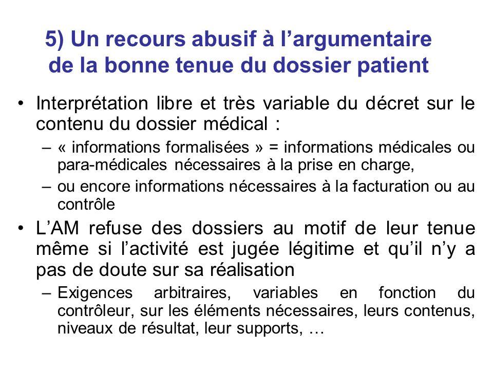 5) Un recours abusif à largumentaire de la bonne tenue du dossier patient Interprétation libre et très variable du décret sur le contenu du dossier mé