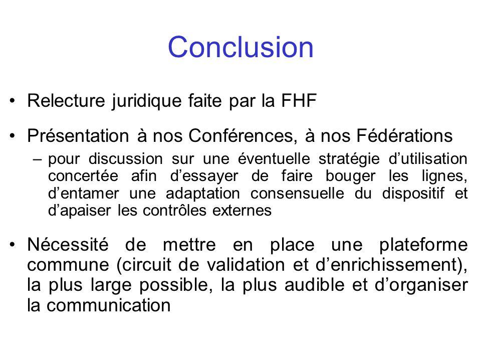 Conclusion Relecture juridique faite par la FHF Présentation à nos Conférences, à nos Fédérations –pour discussion sur une éventuelle stratégie dutili