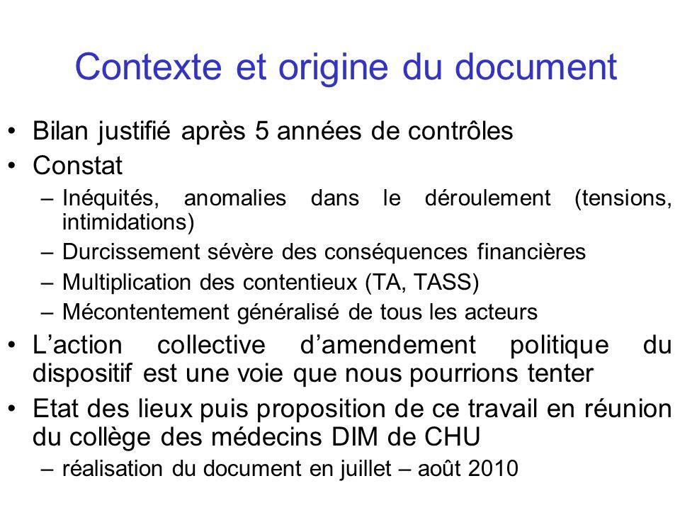 Contexte et origine du document Bilan justifié après 5 années de contrôles Constat –Inéquités, anomalies dans le déroulement (tensions, intimidations)