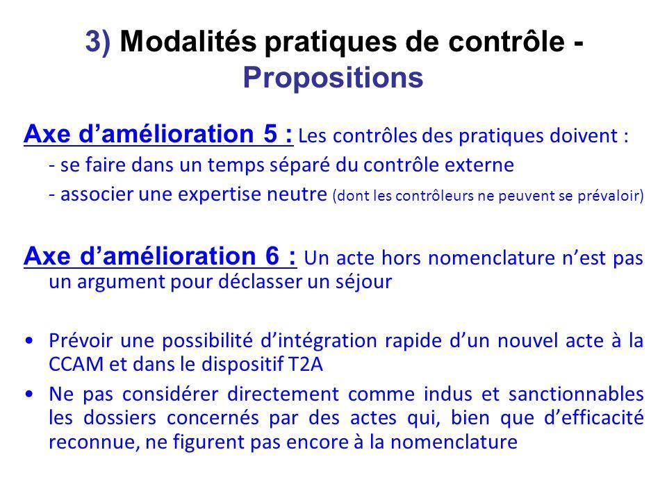 3) Modalités pratiques de contrôle - Propositions Axe damélioration 5 : Les contrôles des pratiques doivent : - se faire dans un temps séparé du contr