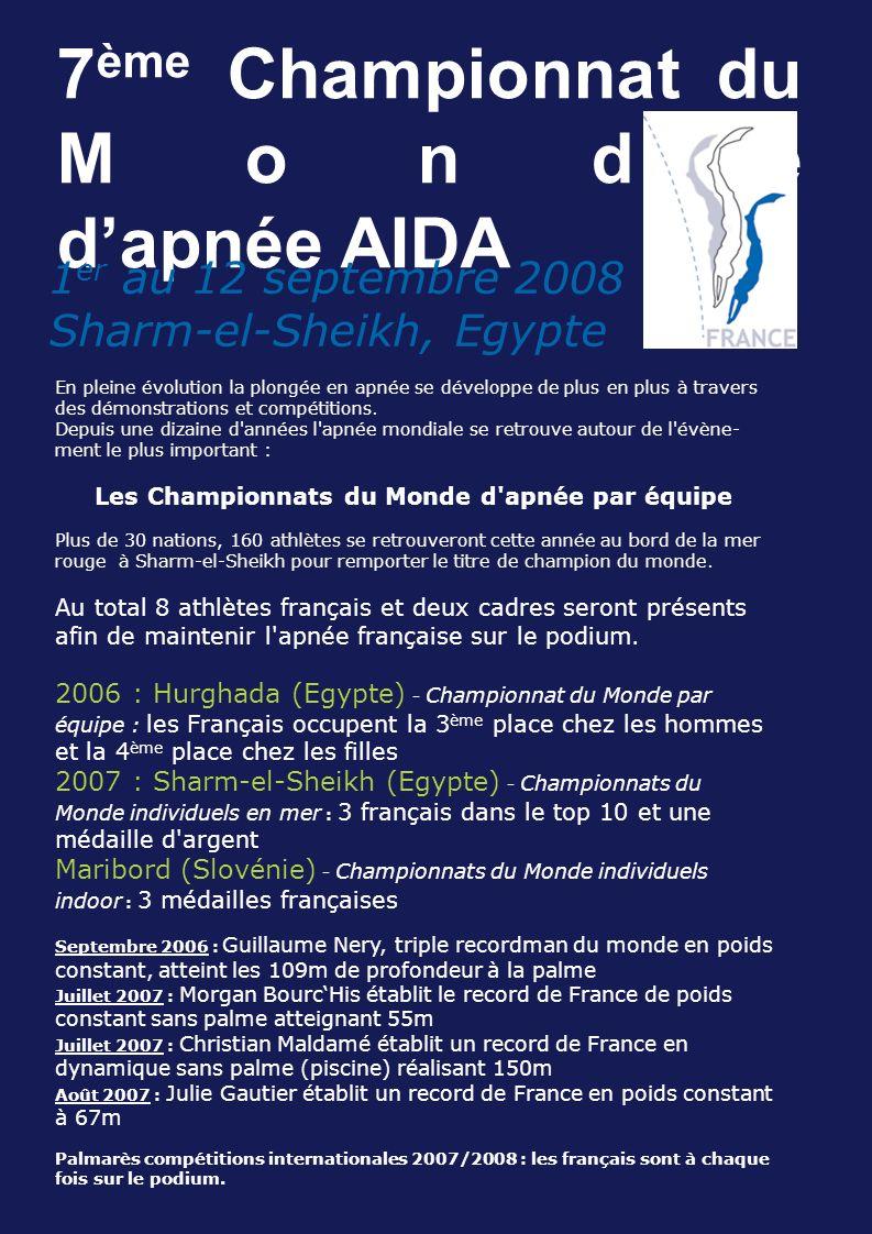7 ème Championnat du Monde dapnée AIDA 1 er au 12 septembre 2008 Sharm-el-Sheikh, Egypte En pleine évolution la plongée en apnée se développe de plus en plus à travers des démonstrations et compétitions.