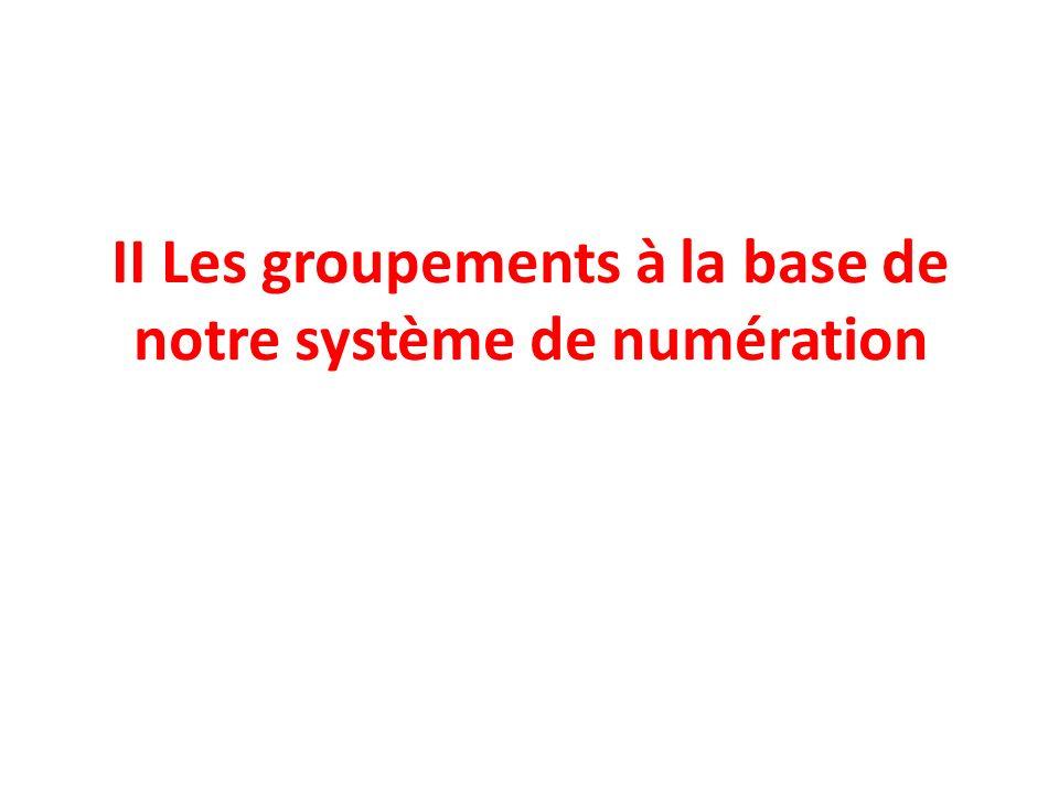 II Les groupements à la base de notre système de numération