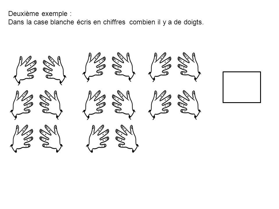 Deuxième exemple : Dans la case blanche écris en chiffres combien il y a de doigts.