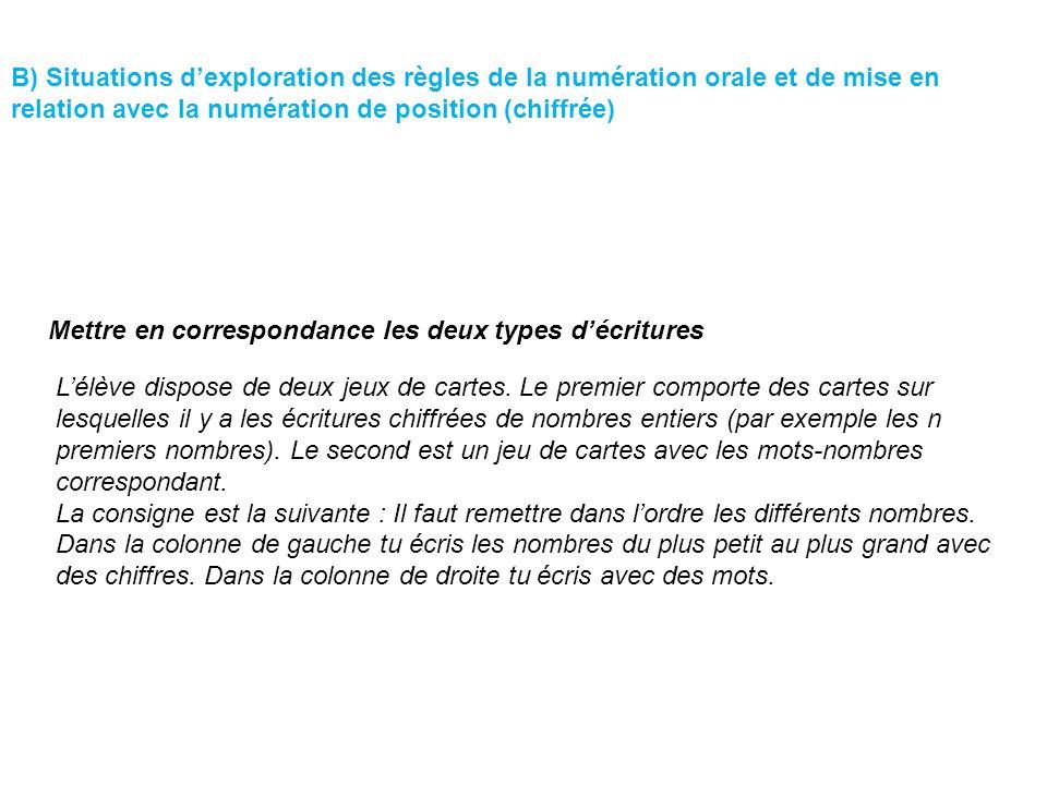 B) Situations dexploration des règles de la numération orale et de mise en relation avec la numération de position (chiffrée) Lélève dispose de deux j