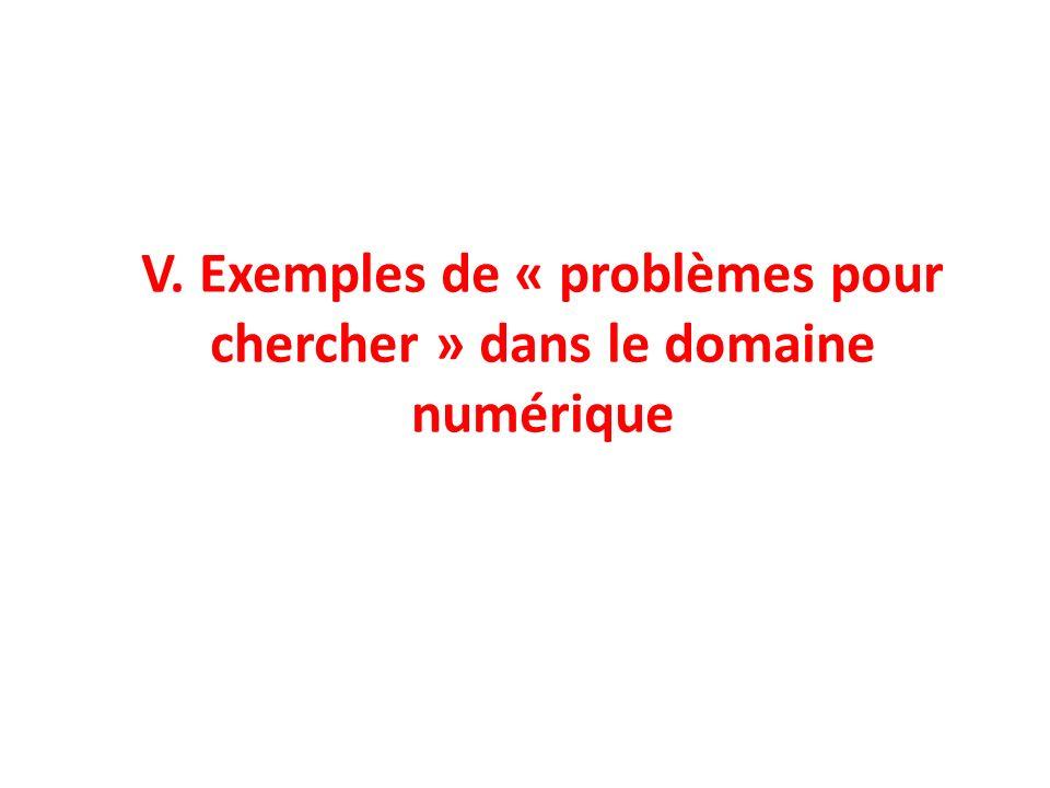 V. Exemples de « problèmes pour chercher » dans le domaine numérique
