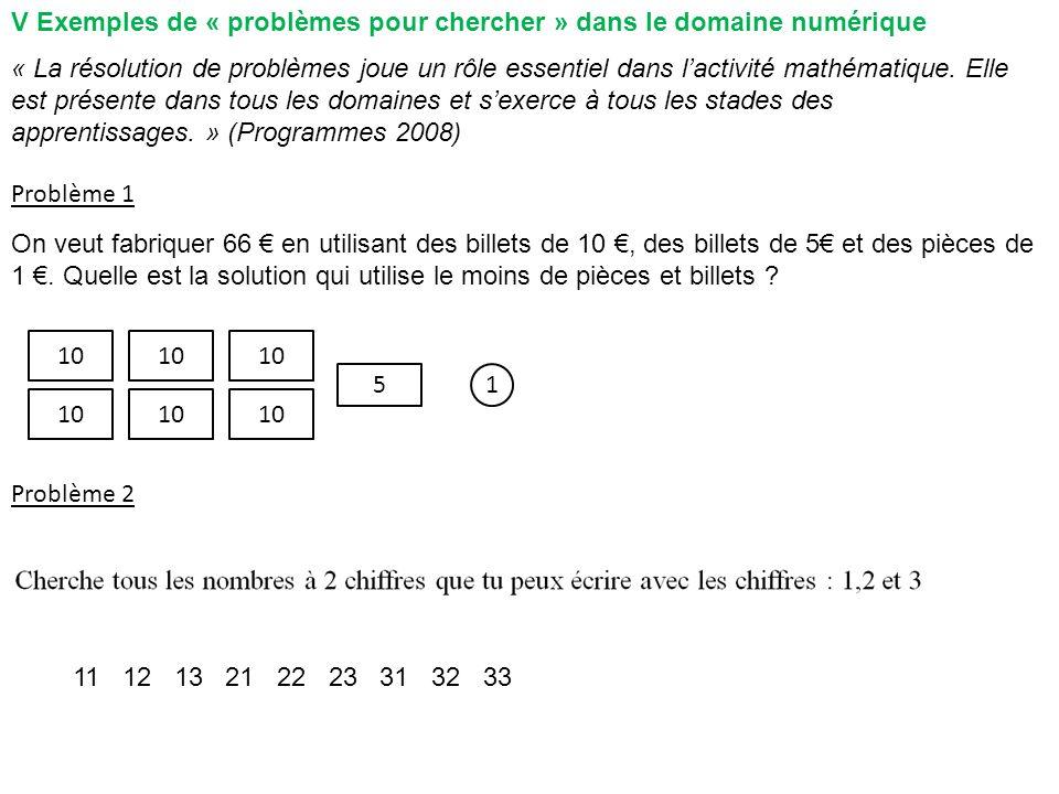 V Exemples de « problèmes pour chercher » dans le domaine numérique Problème 1 Problème 2 10 1 11 12 13 21 22 23 31 32 33 « La résolution de problèmes joue un rôle essentiel dans lactivité mathématique.