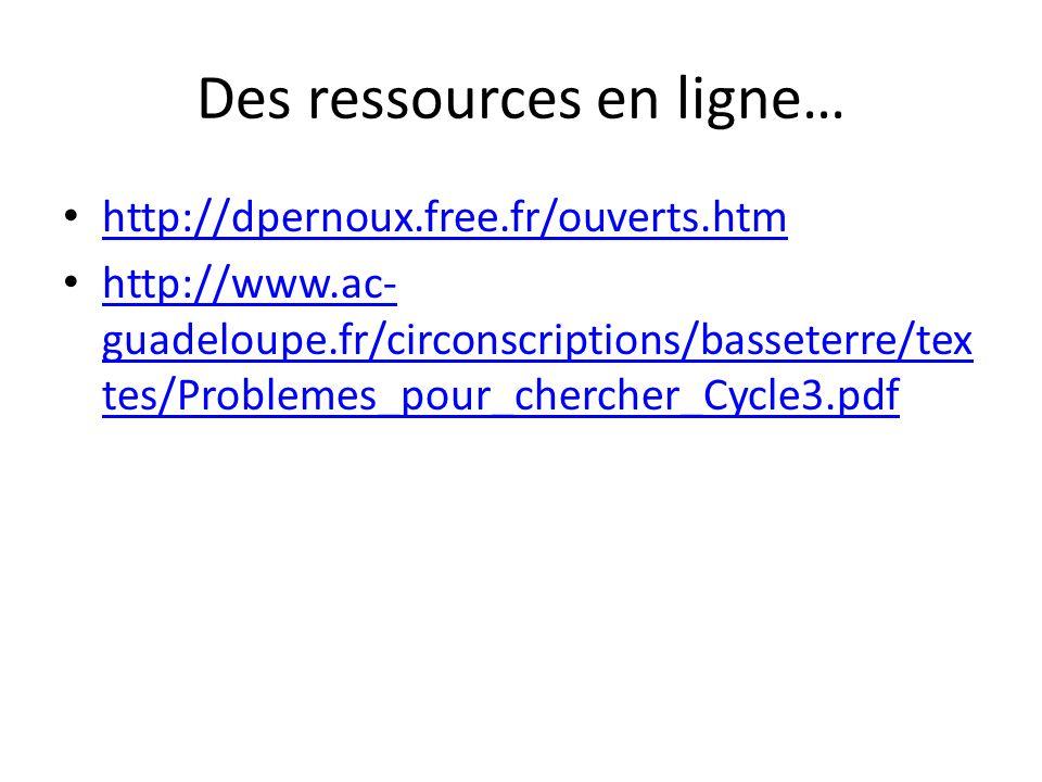 Des ressources en ligne… http://dpernoux.free.fr/ouverts.htm http://www.ac- guadeloupe.fr/circonscriptions/basseterre/tex tes/Problemes_pour_chercher_Cycle3.pdf http://www.ac- guadeloupe.fr/circonscriptions/basseterre/tex tes/Problemes_pour_chercher_Cycle3.pdf