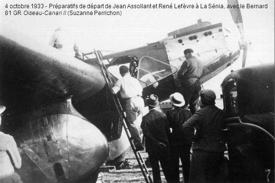 4 octobre 1933 - Préparatifs de départ de Jean Assollant et René Lefèvre à La Sénia, avec le Bernard 81 GR Oiseau-Canari II (Suzanne Perrichon)