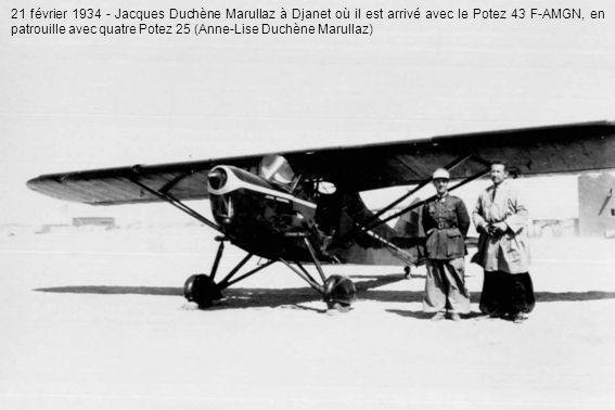 21 février 1934 - Jacques Duchène Marullaz à Djanet où il est arrivé avec le Potez 43 F-AMGN, en patrouille avec quatre Potez 25 (Anne-Lise Duchène Marullaz)