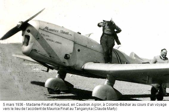 5 mars 1936 - Madame Finat et Raynaud, en Caudron Aiglon, à Colomb-Béchar au cours dun voyage vers le lieu de laccident de Maurice Finat au Tanganyka (Claude Marty)