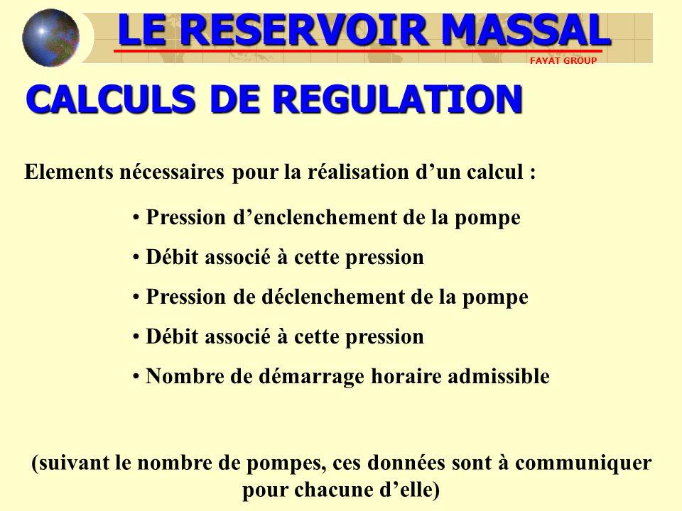 CALCULS DE REGULATION LE RESERVOIR MASSAL FAYAT GROUP Elements nécessaires pour la réalisation dun calcul : Pression denclenchement de la pompe Débit