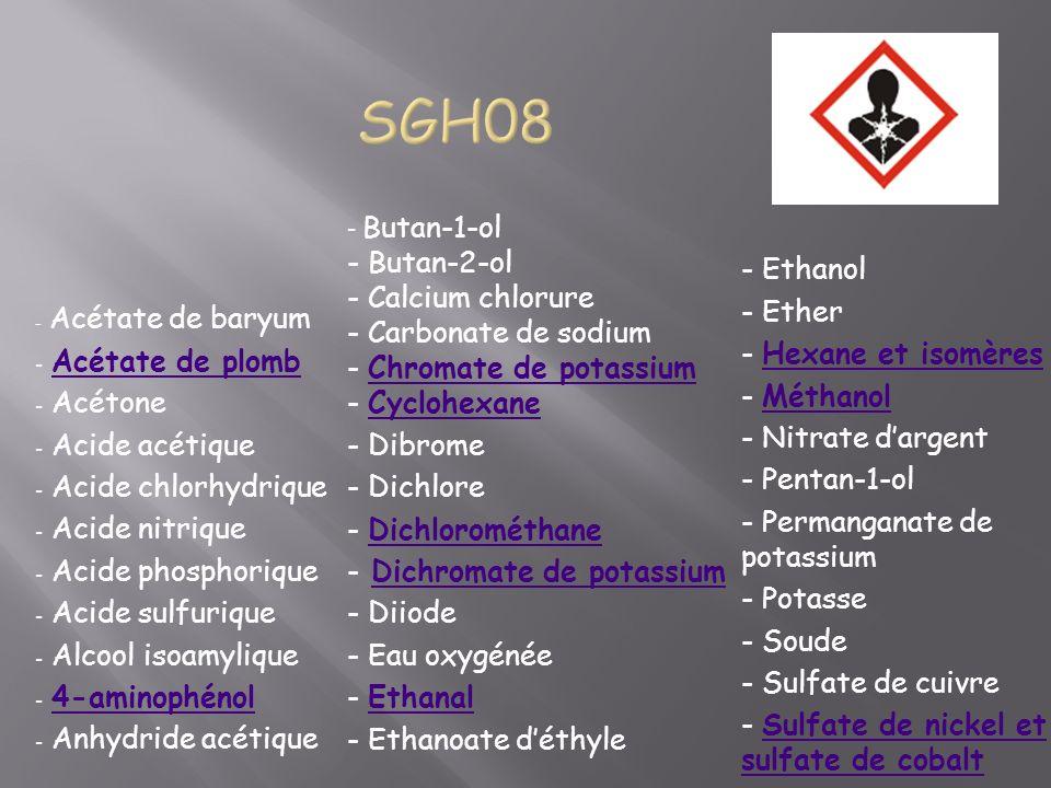 - Acétate de baryum - Acétate de plombAcétate de plomb - Acétone - Acide acétique - Acide chlorhydrique - Acide nitrique - Acide phosphorique - Acide sulfurique - Alcool isoamylique - 4-aminophénol4-aminophénol - Anhydride acétique - Butan-1-ol - Butan-2-ol - Calcium chlorure - Carbonate de sodium - Chromate de potassiumChromate de potassium - CyclohexaneCyclohexane - Dibrome - Dichlore - DichlorométhaneDichlorométhane - Dichromate de potassiumDichromate de potassium - Diiode - Eau oxygénée - EthanalEthanal - Ethanoate déthyle - Ethanol - Ether - Hexane et isomèresHexane et isomères - MéthanolMéthanol - Nitrate dargent - Pentan-1-ol - Permanganate de potassium - Potasse - Soude - Sulfate de cuivre - Sulfate de nickel et sulfate de cobaltSulfate de nickel et sulfate de cobalt