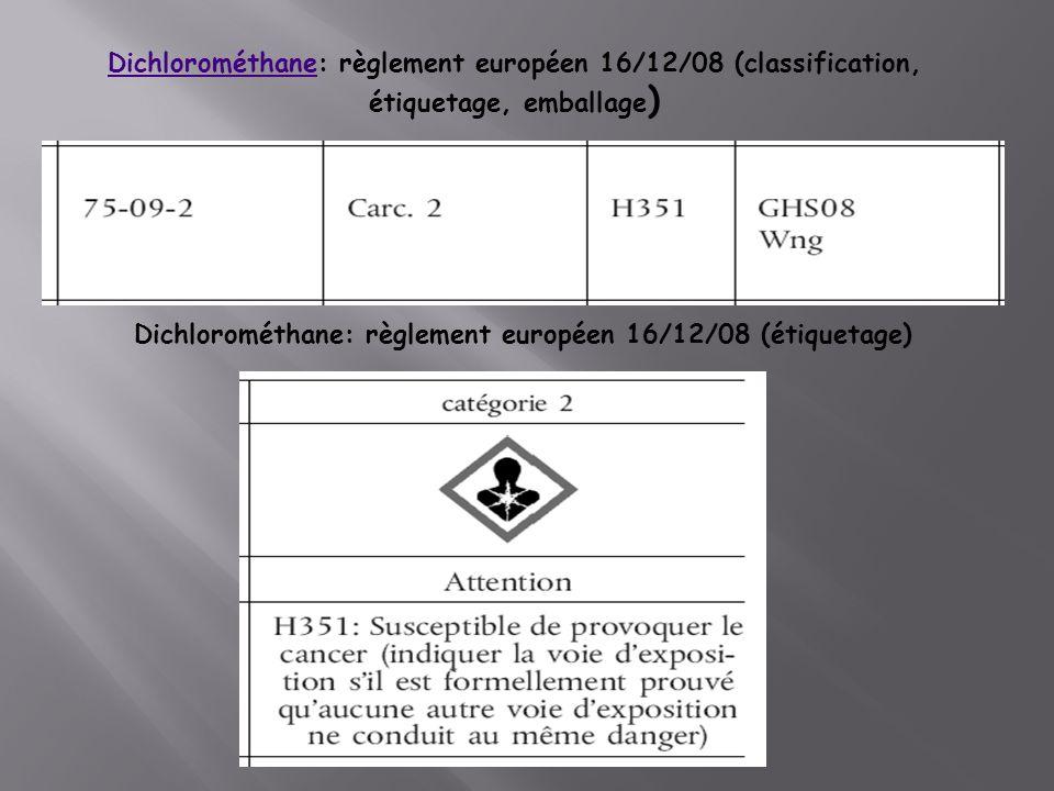 DichlorométhaneDichlorométhane: règlement européen 16/12/08 (classification, étiquetage, emballage ) Dichlorométhane: règlement européen 16/12/08 (étiquetage)