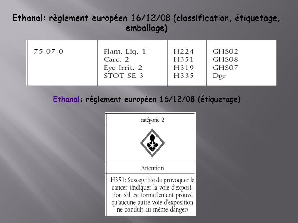 Ethanal: règlement européen 16/12/08 (classification, étiquetage, emballage) EthanalEthanal: règlement européen 16/12/08 (étiquetage)