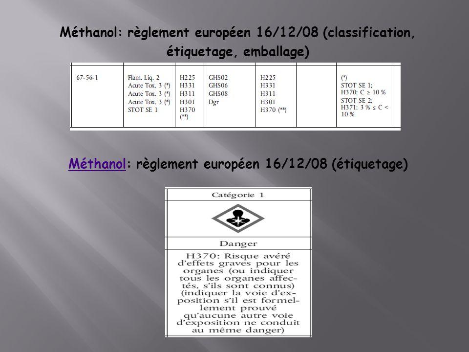Méthanol: règlement européen 16/12/08 (classification, étiquetage, emballage) MéthanolMéthanol: règlement européen 16/12/08 (étiquetage)