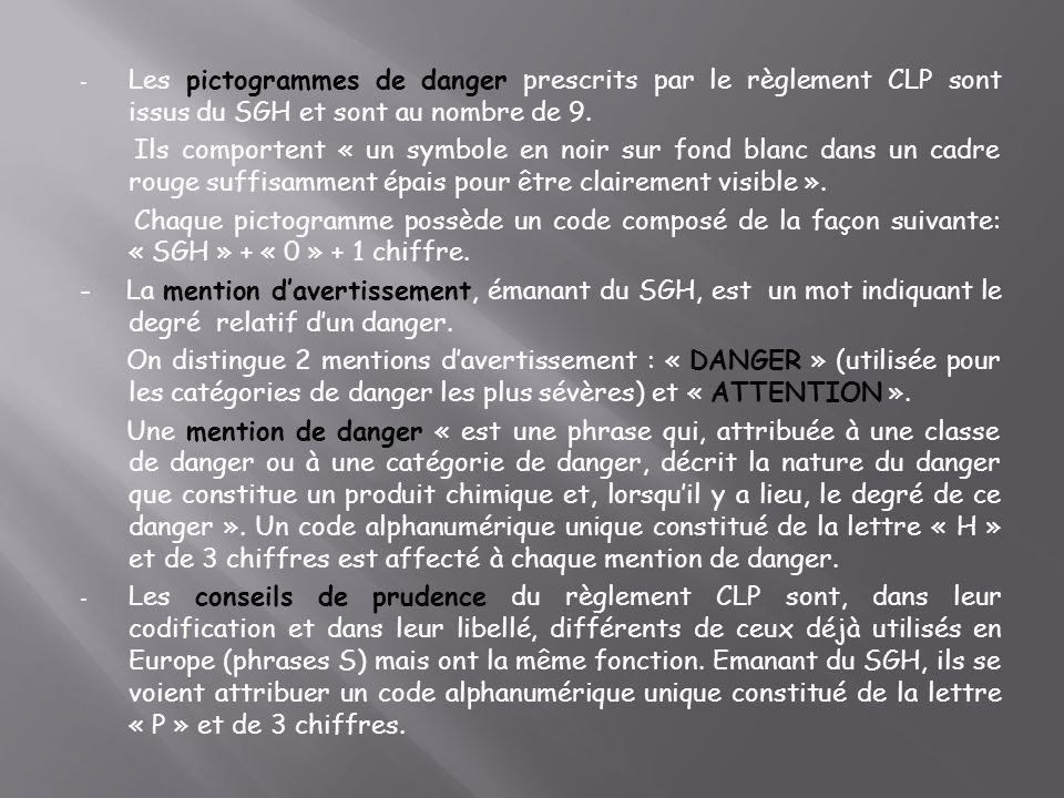 - Les pictogrammes de danger prescrits par le règlement CLP sont issus du SGH et sont au nombre de 9.