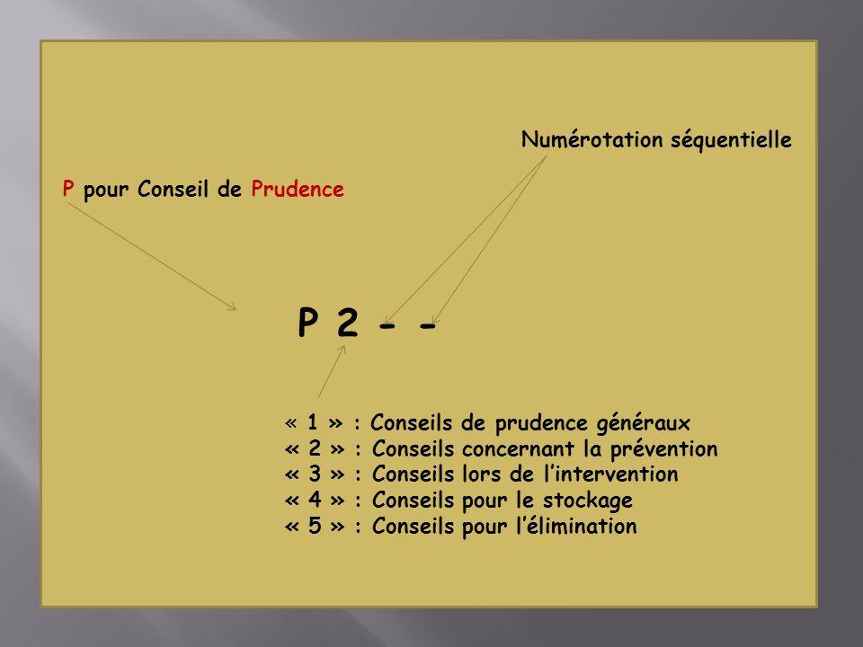 P 2 - - Numérotation séquentielle P pour Conseil de Prudence « 1 » : Conseils de prudence généraux « 2 » : Conseils concernant la prévention « 3 » : Conseils lors de lintervention « 4 » : Conseils pour le stockage « 5 » : Conseils pour lélimination