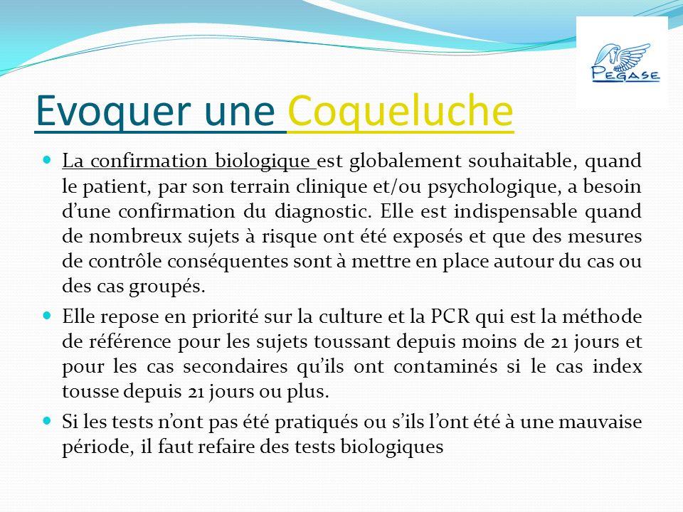 Evoquer une CoquelucheCoqueluche La confirmation biologique est globalement souhaitable, quand le patient, par son terrain clinique et/ou psychologique, a besoin dune confirmation du diagnostic.
