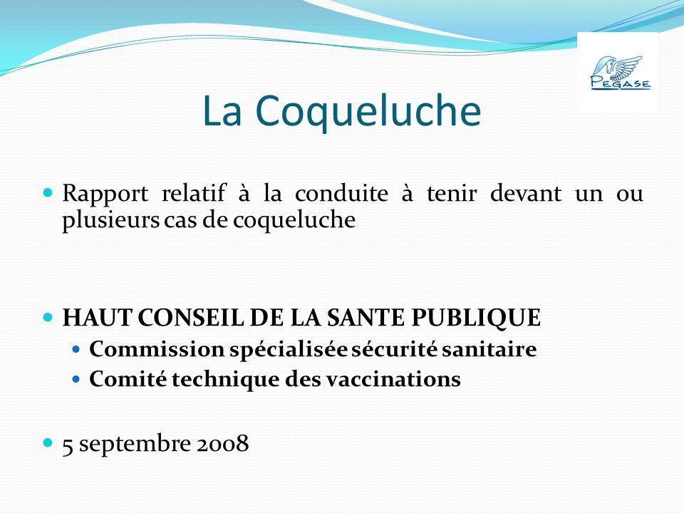 La Coqueluche Rapport relatif à la conduite à tenir devant un ou plusieurs cas de coqueluche HAUT CONSEIL DE LA SANTE PUBLIQUE Commission spécialisée sécurité sanitaire Comité technique des vaccinations 5 septembre 2008
