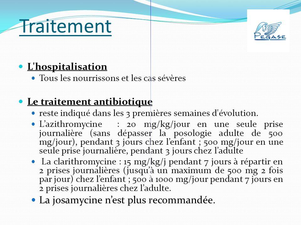Traitement L hospitalisation Tous les nourrissons et les cas sévères Le traitement antibiotique reste indiqué dans les 3 premières semaines d évolution.