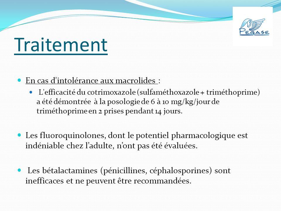 Traitement En cas d intolérance aux macrolides : L efficacité du cotrimoxazole (sulfaméthoxazole + triméthoprime) a été démontrée à la posologie de 6 à 10 mg/kg/jour de triméthoprime en 2 prises pendant 14 jours.