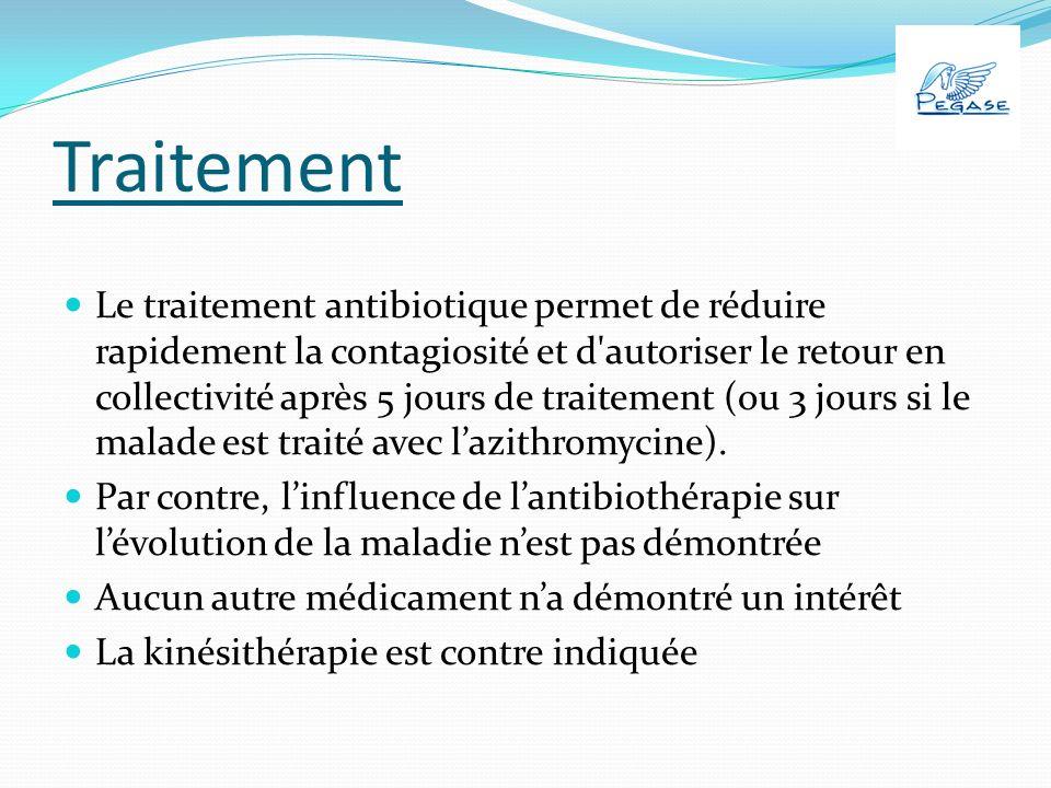 Traitement Le traitement antibiotique permet de réduire rapidement la contagiosité et d autoriser le retour en collectivité après 5 jours de traitement (ou 3 jours si le malade est traité avec lazithromycine).