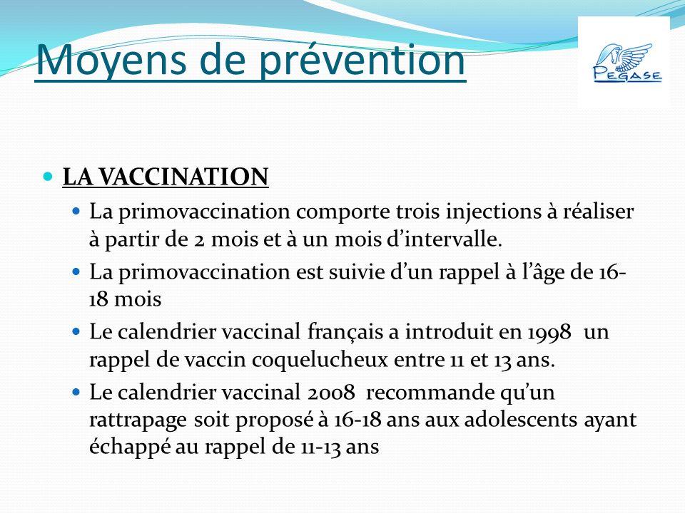 Moyens de prévention LA VACCINATION La primovaccination comporte trois injections à réaliser à partir de 2 mois et à un mois dintervalle.