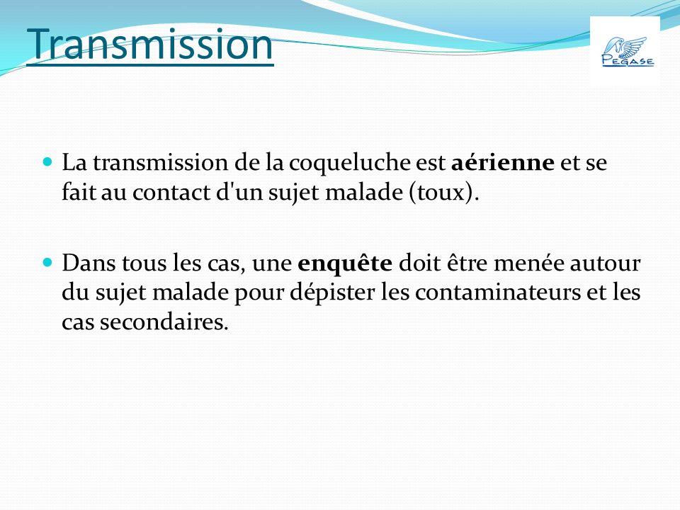 Transmission Le risque de contamination doit être considéré comme d autant plus important que : l exposition aux secrétions émises lors de la toux est prolongée et répétée ; elle se déroule dans une enceinte fermée de petite dimension ; le contaminateur se trouve dans une phase plus précoce de sa maladie.
