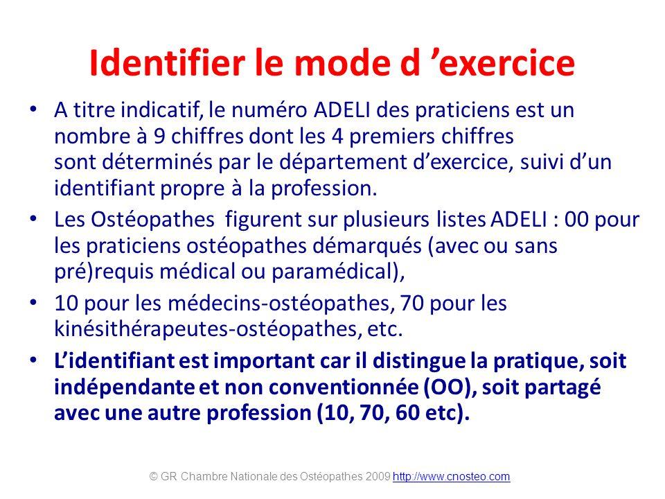 Identifier le mode d exercice A titre indicatif, le numéro ADELI des praticiens est un nombre à 9 chiffres dont les 4 premiers chiffres sont déterminés par le département dexercice, suivi dun identifiant propre à la profession.