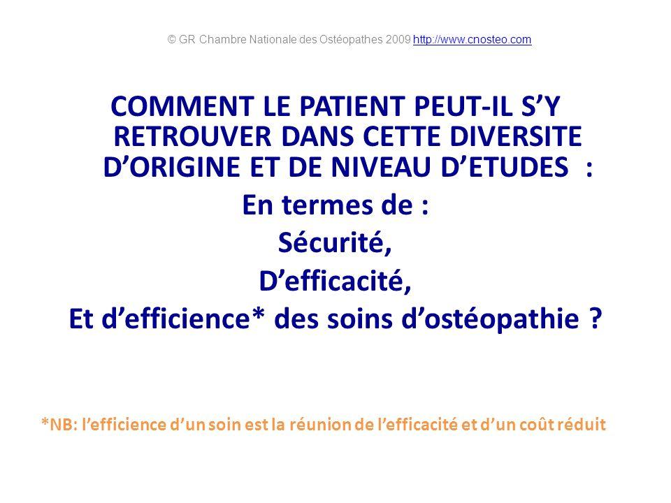 COMMENT LE PATIENT PEUT-IL SY RETROUVER DANS CETTE DIVERSITE DORIGINE ET DE NIVEAU DETUDES : En termes de : Sécurité, Defficacité, Et defficience* des soins dostéopathie .