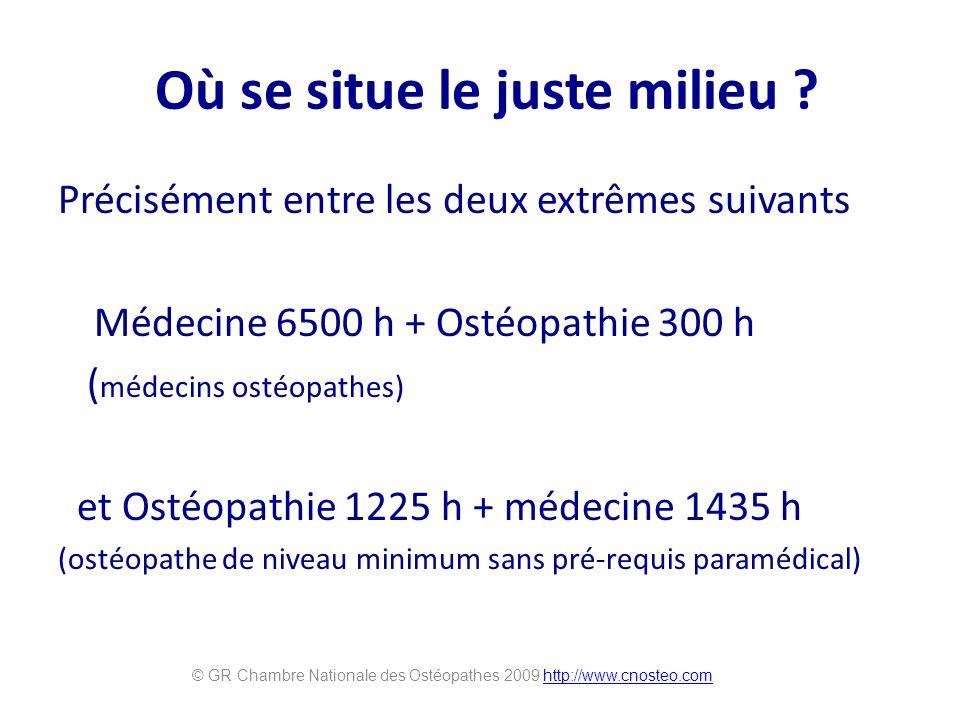 Où se situe le juste milieu ? Précisément entre les deux extrêmes suivants Médecine 6500 h + Ostéopathie 300 h ( médecins ostéopathes) et Ostéopathie