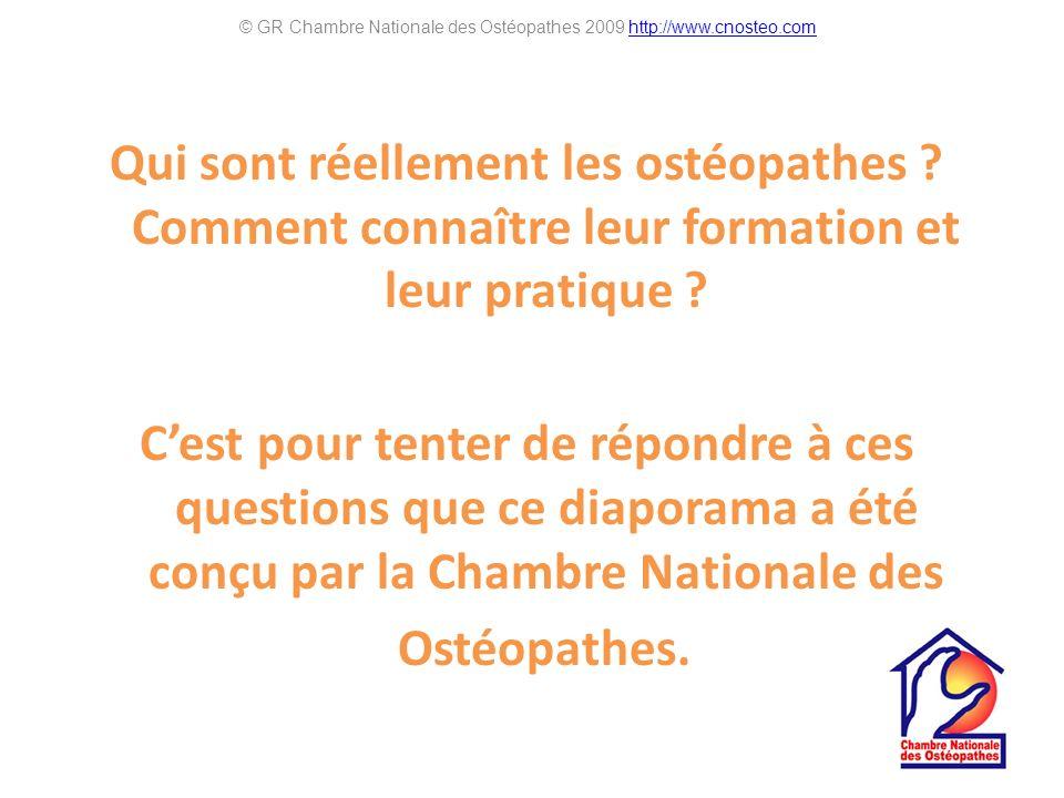 Qui sont réellement les ostéopathes ? Comment connaître leur formation et leur pratique ? Cest pour tenter de répondre à ces questions que ce diaporam