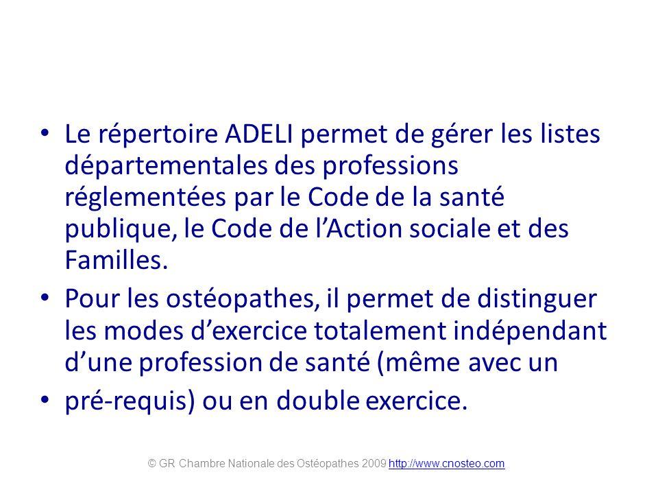 Le répertoire ADELI permet de gérer les listes départementales des professions réglementées par le Code de la santé publique, le Code de lAction socia