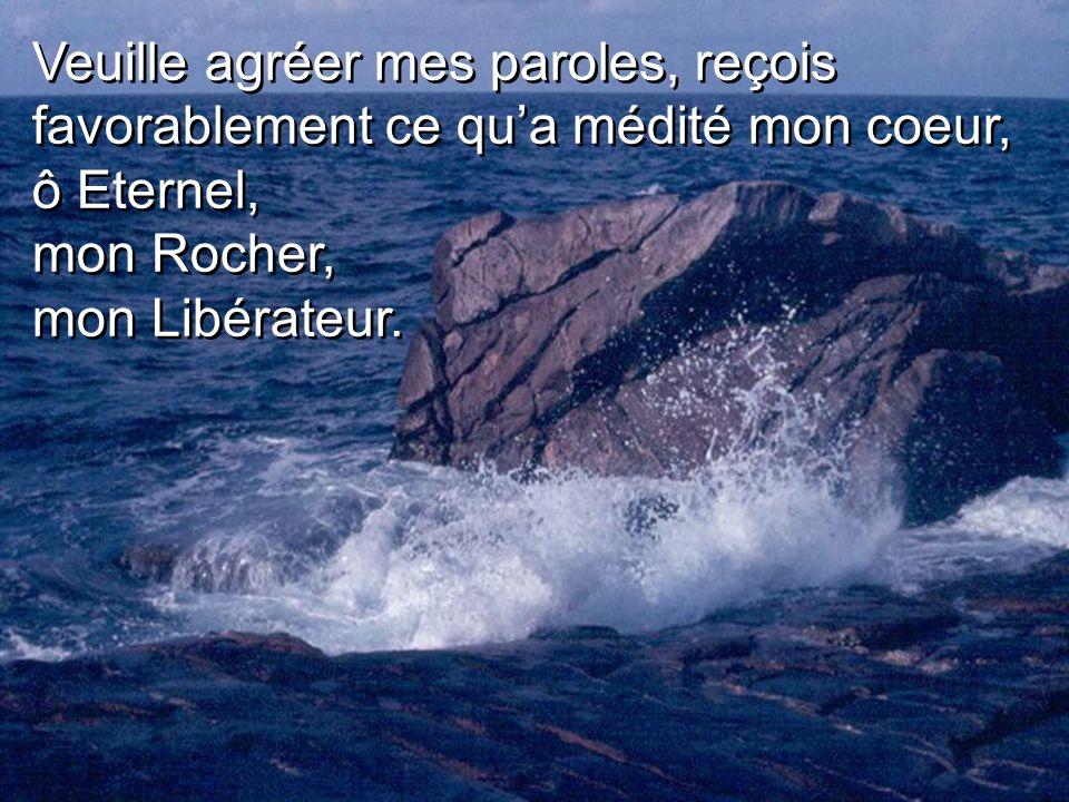Veuille agréer mes paroles, reçois favorablement ce qua médité mon coeur, ô Eternel, mon Rocher, mon Libérateur.