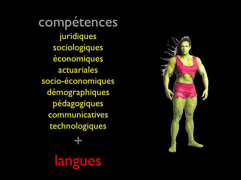 compétences juridiques sociologiques économiques actuariales socio-économiques démographiques pédagogiques communicatives technologiques + langues