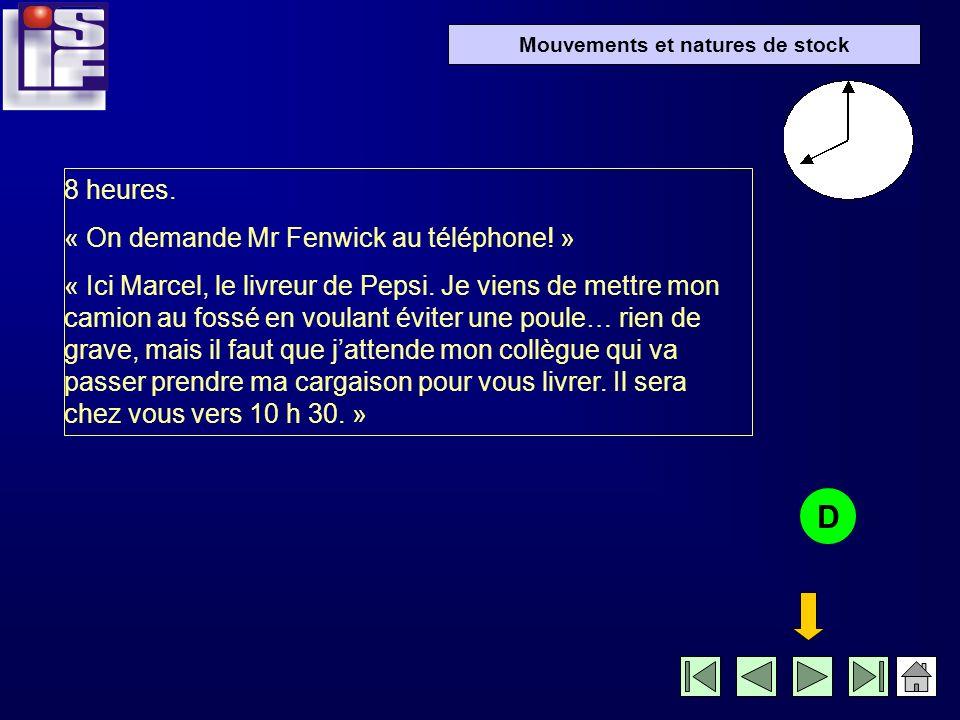 Mouvements et natures de stock 8 heures.« On demande Mr Fenwick au téléphone.