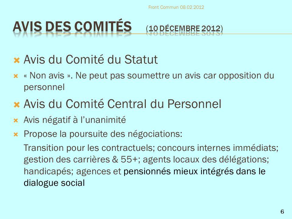 Avis du Comité du Statut « Non avis ».