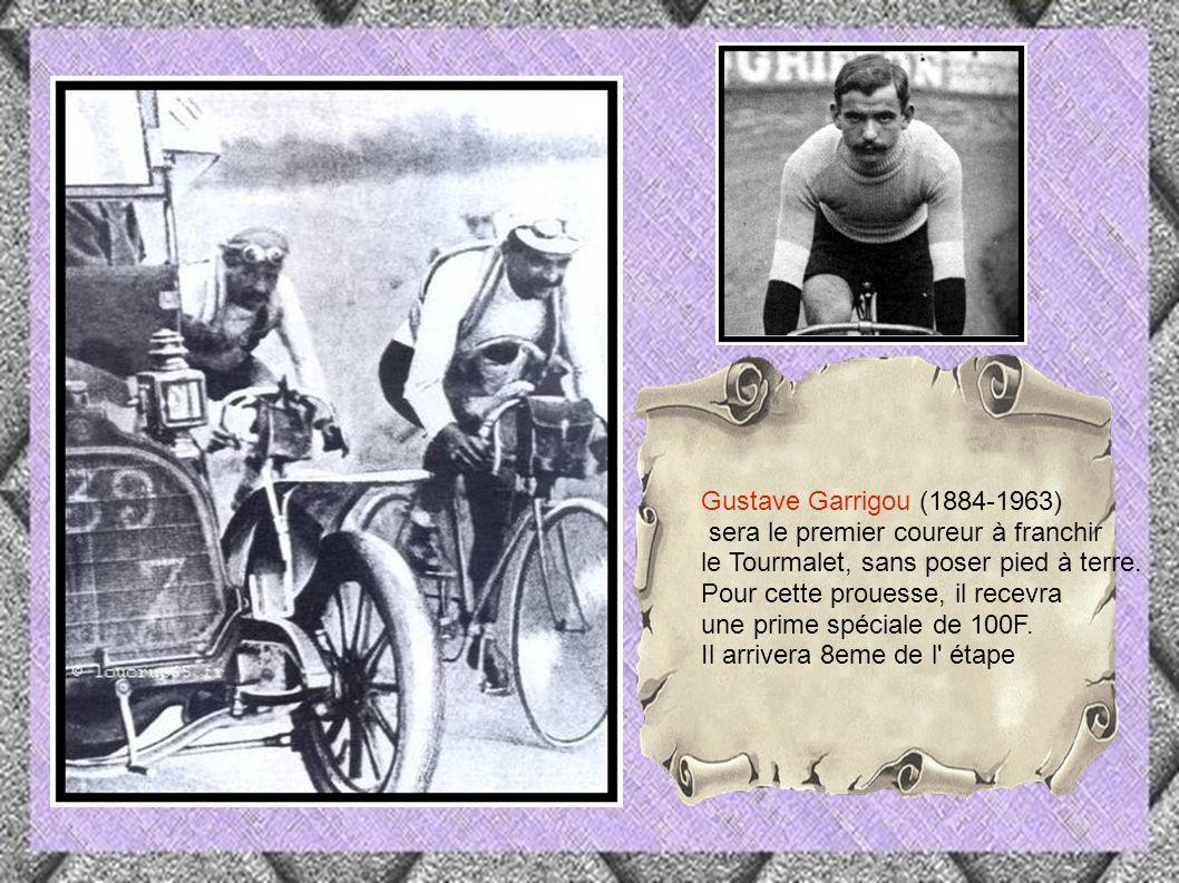 Lapize renommé meilleur grimpeur, mettra pied à terre,au bout de 13km et alternera la montée entre marche à pied et effort Cycliste Octave Lapize dit le frisé 1887-1917( mort au front)