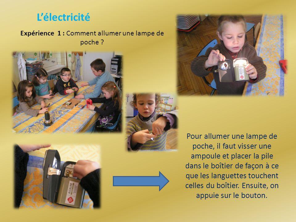 Lélectricité Expérience 1 : Comment allumer une lampe de poche .