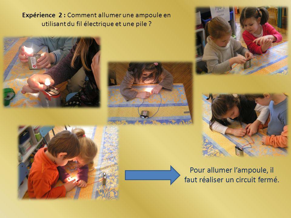 Expérience 2 : Comment allumer une ampoule en utilisant du fil électrique et une pile .