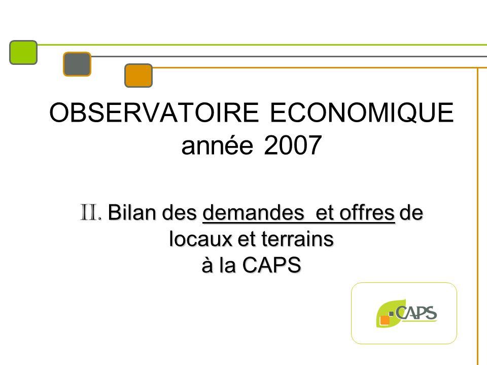 II. Bilan des demandes et offres de locaux et terrains à la CAPS OBSERVATOIRE ECONOMIQUE année 2007 II. Bilan des demandes et offres de locaux et terr