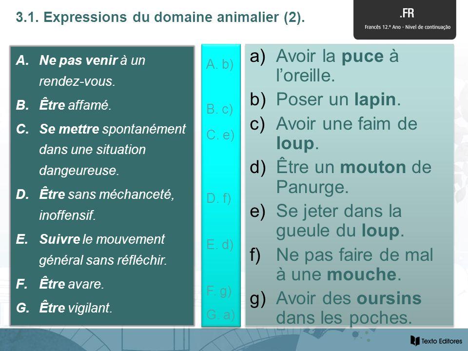 3.1. Expressions du domaine animalier (2). A.Ne pas venir à un rendez-vous.