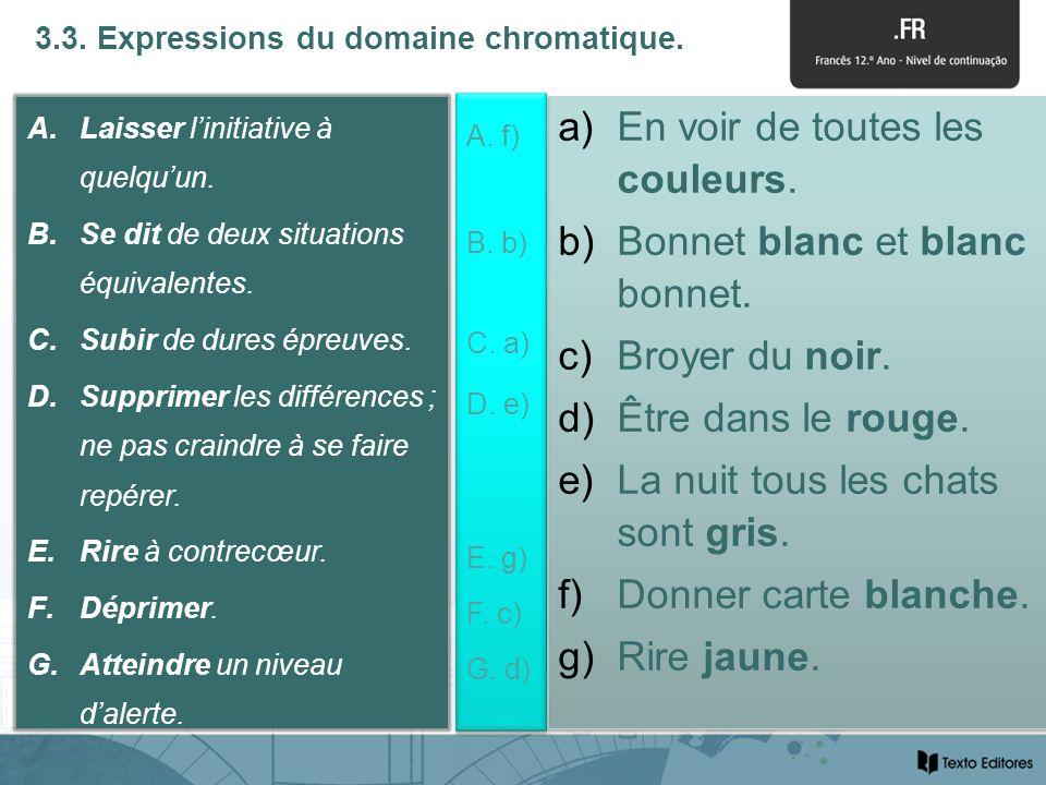3.3. Expressions du domaine chromatique. A.Laisser linitiative à quelquun.