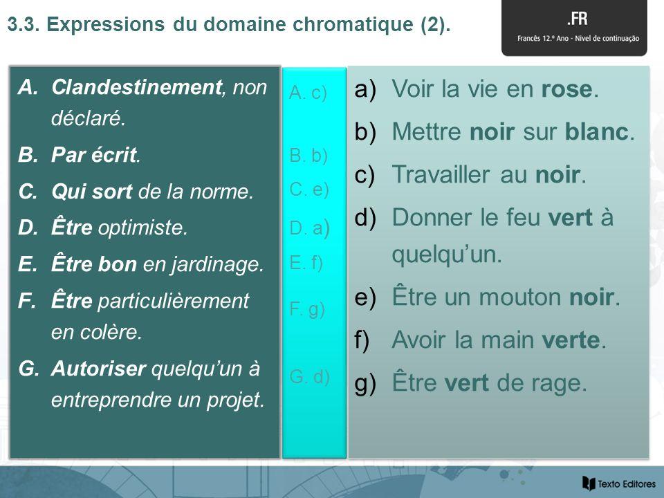 3.3. Expressions du domaine chromatique (2). A.Clandestinement, non déclaré.